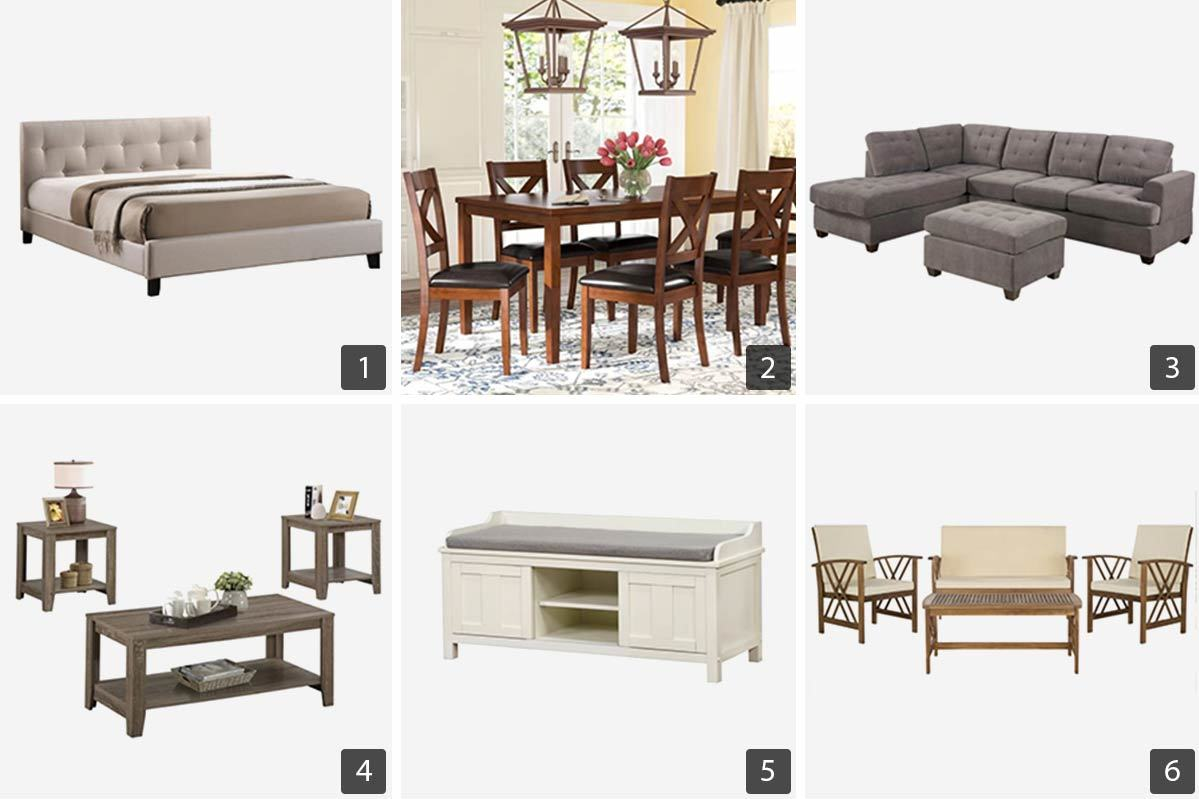 Wayfair Labor Day sale furniture including a sectional sofa, storage bench, and dining set. photo