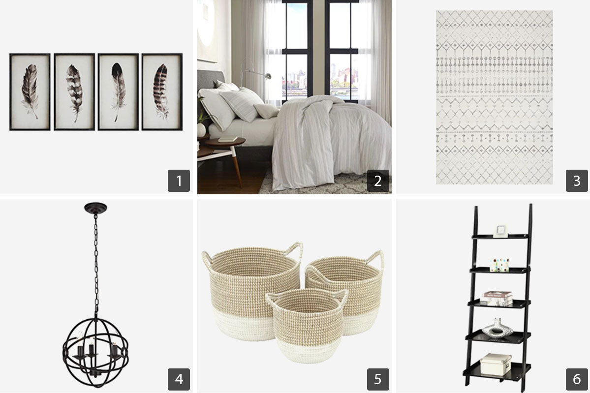 Home decor deals from Wayfair including a pendant light, area rug, and woven storage baskets. photo