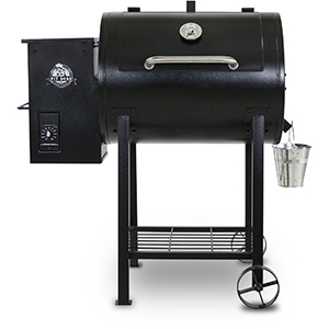 Black pellet grill with rack underneath and galvanized bucket for ashes. photo