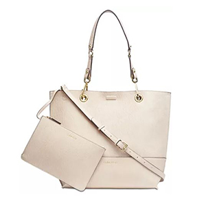 Cream tote with a pouch photo