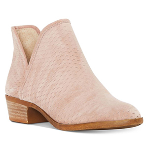 Pink bootie with a tan sole photo