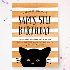 Minted Striped Cat Halloween Birthday Party Invitations photo