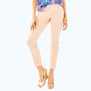 Light pink Lilly Pulitzer cropped skinny pants photo