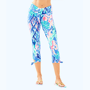 Blue and pink coral printed Lilly Pulitzer cropped leggings that tie on the side photo