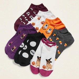 Seven pairs of Halloween-themed socks. photo