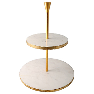 Two-tier marble cake stand with gold accents photo
