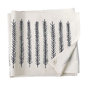 White Table Runner with feather print photo