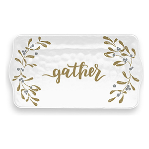 White serving tray with garland border and the word