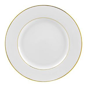 White plate with gold trim photo