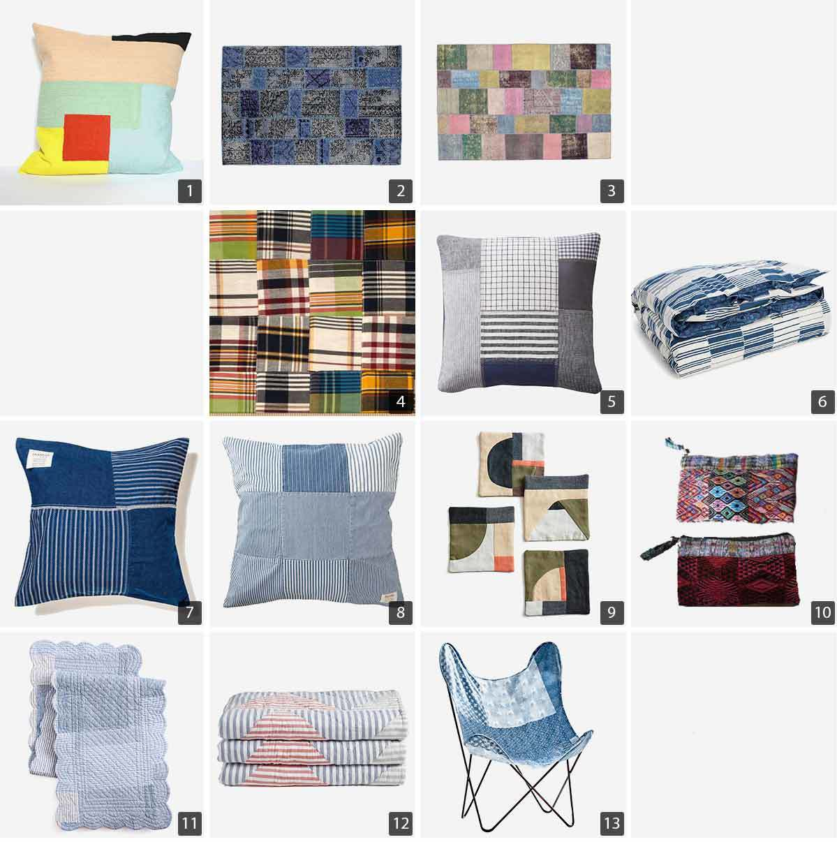 Collage of home decor including decorative pillow covers, fabric, a quilt, duvet cover, and chair. photo