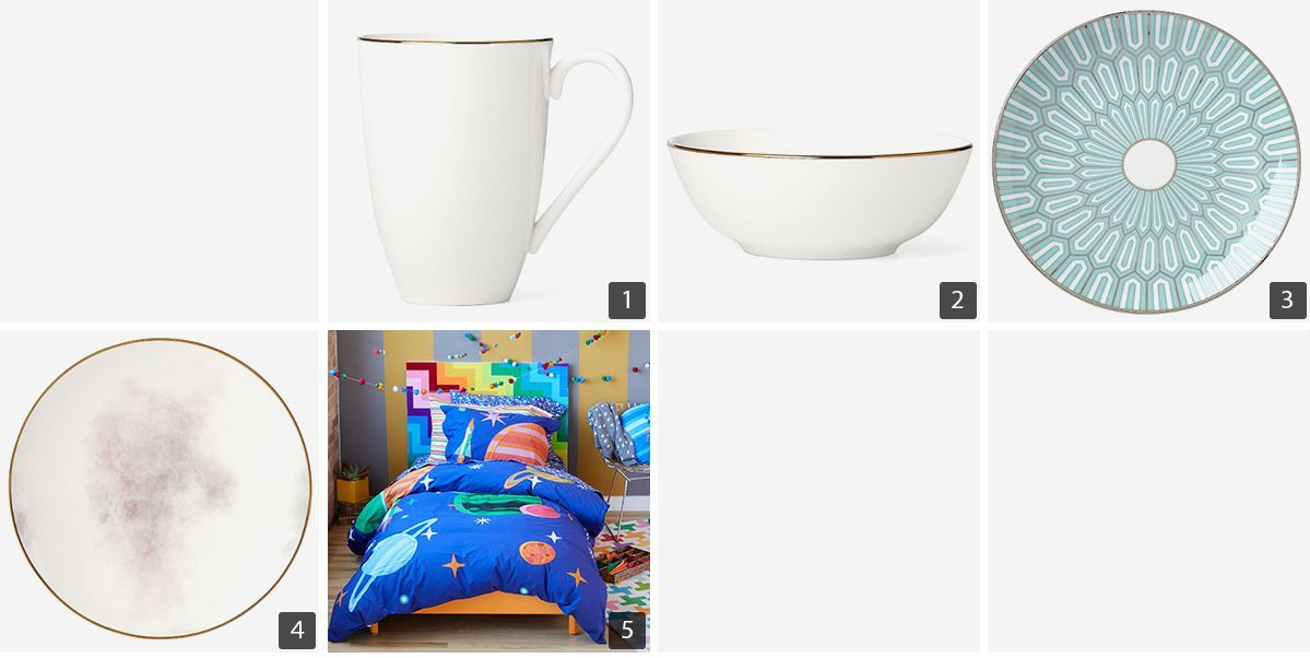 Collage of dining and kid's bedroom products including a mug, bowl, saucer, plate, and quilt. photo