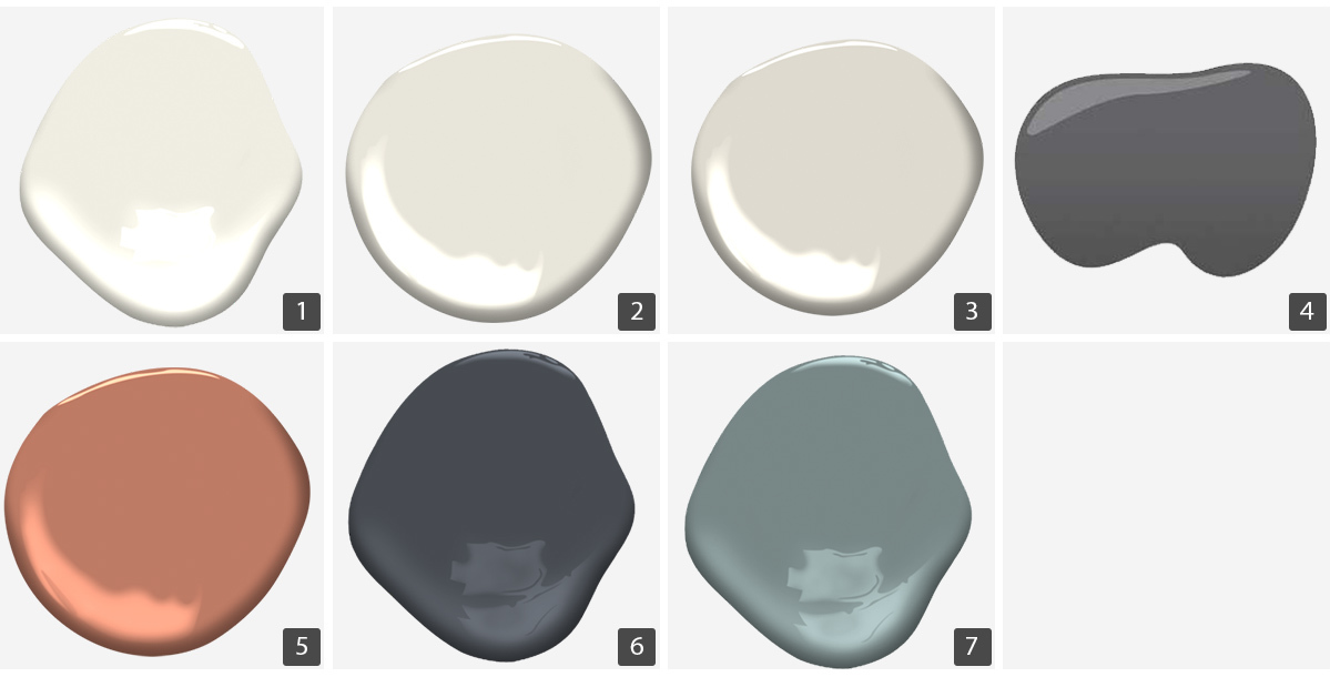 Seven different paint colors from Benjamin Moore and Sherwin Williams. photo