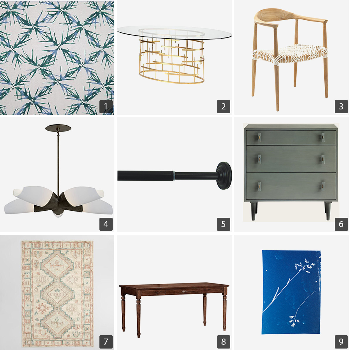 Collage of dining room products from the Cannon house. photo