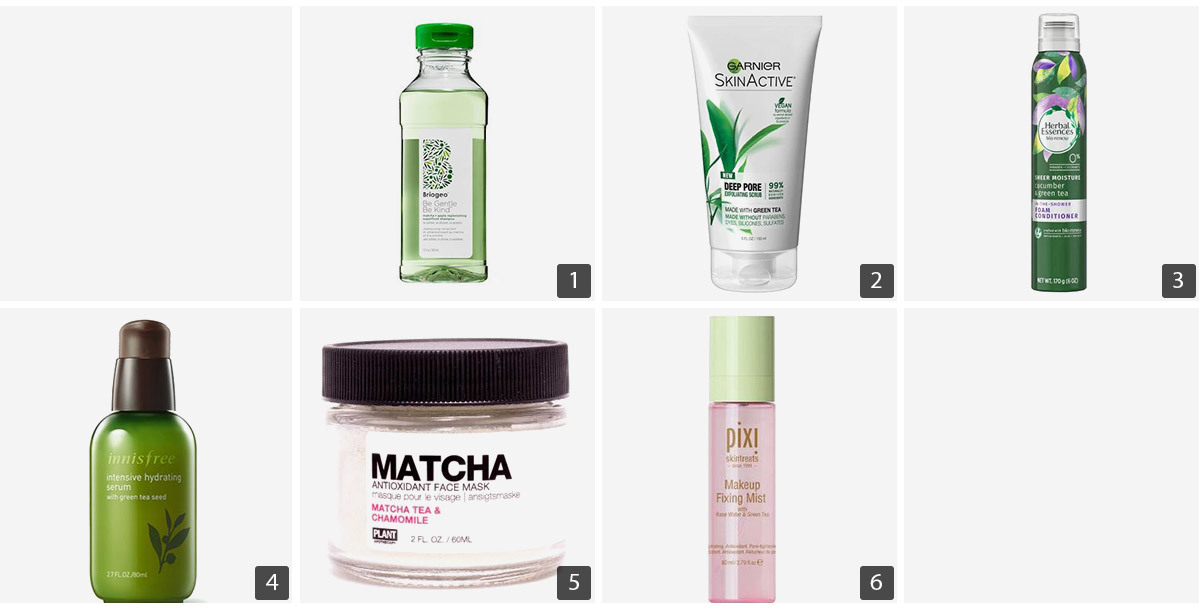Collage of beauty products with green tea including shampoo, face scrub, conditioner, hydrating serum, makeup fixing mist, and a face mask. photo
