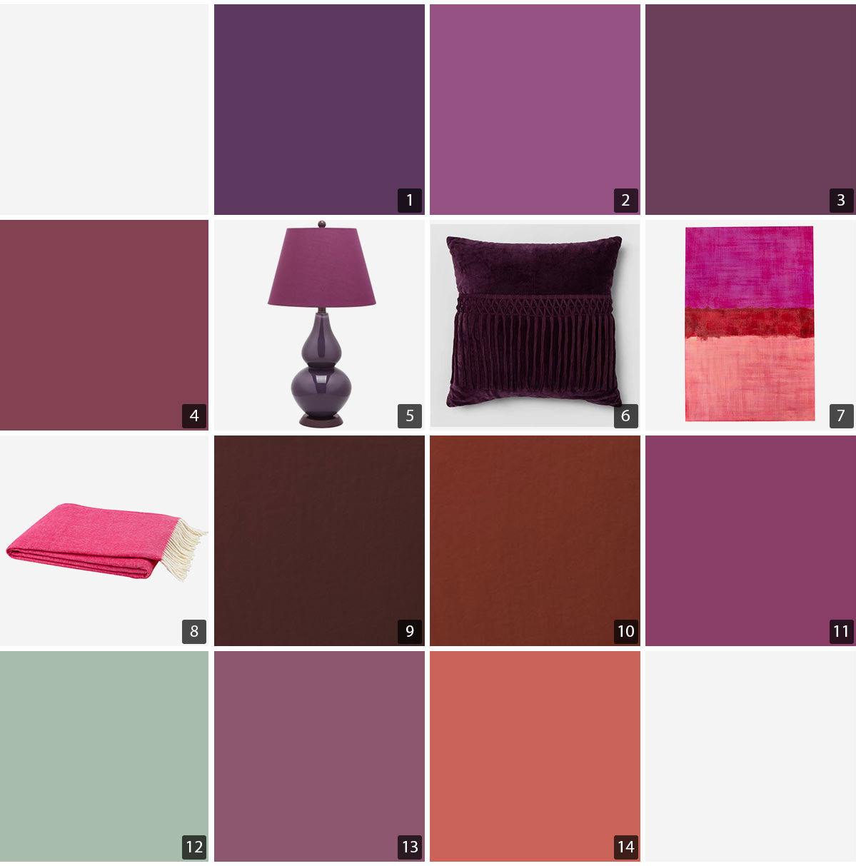 Collage of home decor including a lamp, pillow, artwork, throw, and paint colors. photo