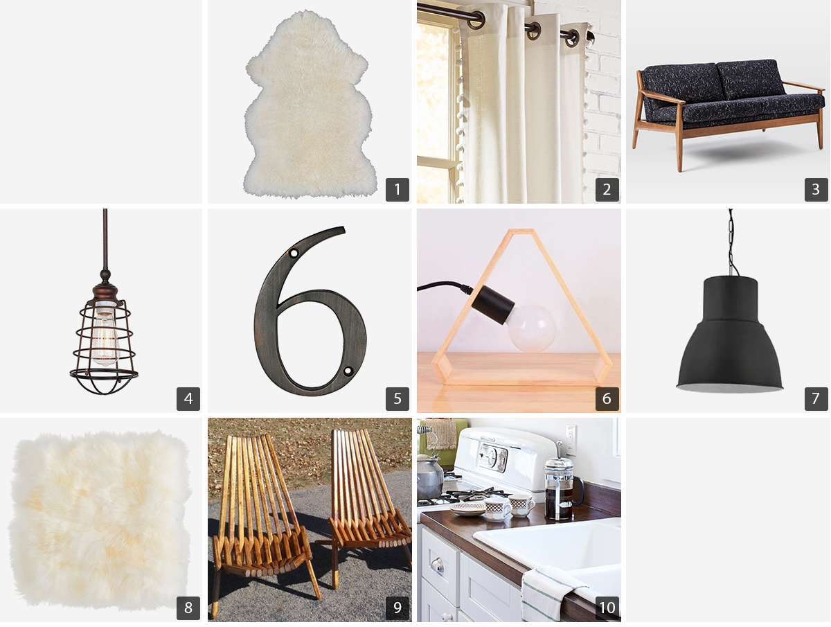 Collage of home products including sheepskin rug and pillows, gray sofa, and pendant lights photo