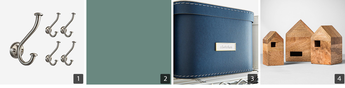 Collage of home products including silver hooks, light green paint, navy storage boxes, and wooden nesting houses photo