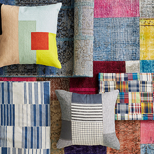 Patchwork bedding and throw pillow photo