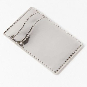 Silver phone case cardholder wallet with two pockets. photo