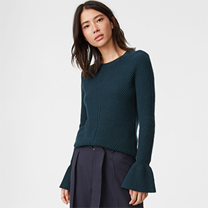 Club Monaco viscose wool sweater in jade green with bell sleeves photo