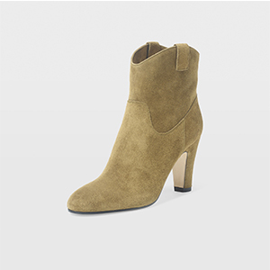 Club Monaco olive green suede cowgirl style bootie with heel photo