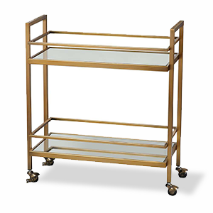 Two-tier bar cart in gold photo