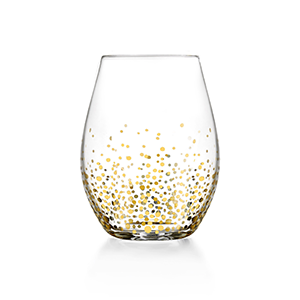 Stemless wine glass with gold detailing photo