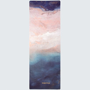 Ombre-style yoga mat featuring purple, pink, and blue. photo