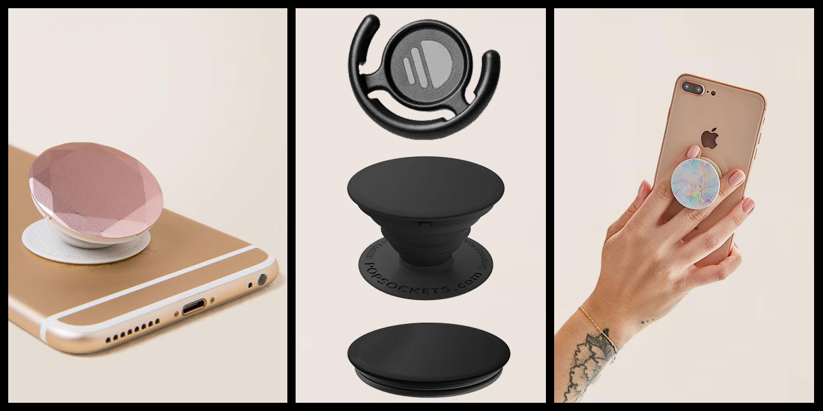A collage of a jewel PopSocket, a multi-color PopSocket, and a black PopSocket with extra attachment from Francescas. photo