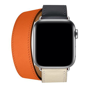 Leather double tour strap and case for the Apple Watch Hermès. photo