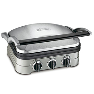 The Home Depot Cuisinart countertop grill with three dials on the front photo