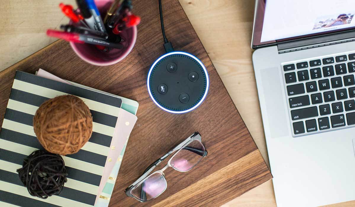 Echo Dot in a home office photo
