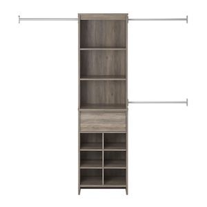 Houzz gray oak closet organizer with ten compartments. photo