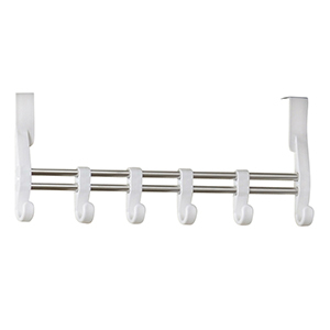 Over-the-door organizer with six adjustable white hooks. photo