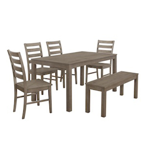 Wood dining set in aged gray from Houzz including a rectangular table with a bench and four chairs photo