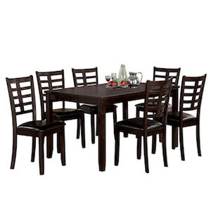 Seven piece dining set in espresso from Houzz including a dining table and six chairs photo