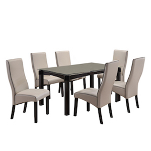 Seven piece dining table and chair set from Houzz in gray photo