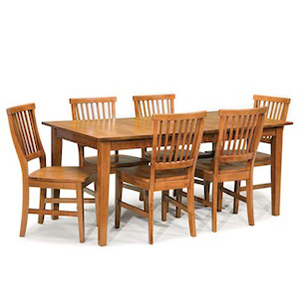 Seven piece dining table and chair set in brown cottage oak from Houzz photo