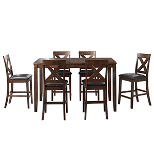 Seven piece dining set in a dark brown wood from Houzz photo