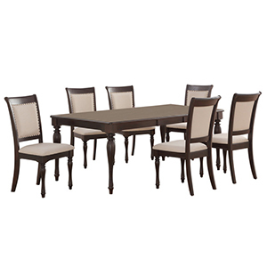 Five piece wooden dining set with crema fabric from Houzz photo