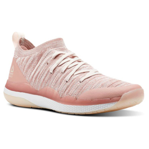 Pink lace-up sneaker with sock-like material. photo