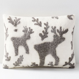 Christmas pillow cover with felt reindeer on it photo
