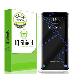 Clear Screen protector s10 shown on an iPhone next to the bright green and white packaging from Amazon photo