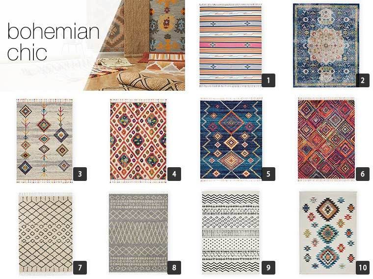 A collage of 10 boho-inspired rugs from Overstock photo