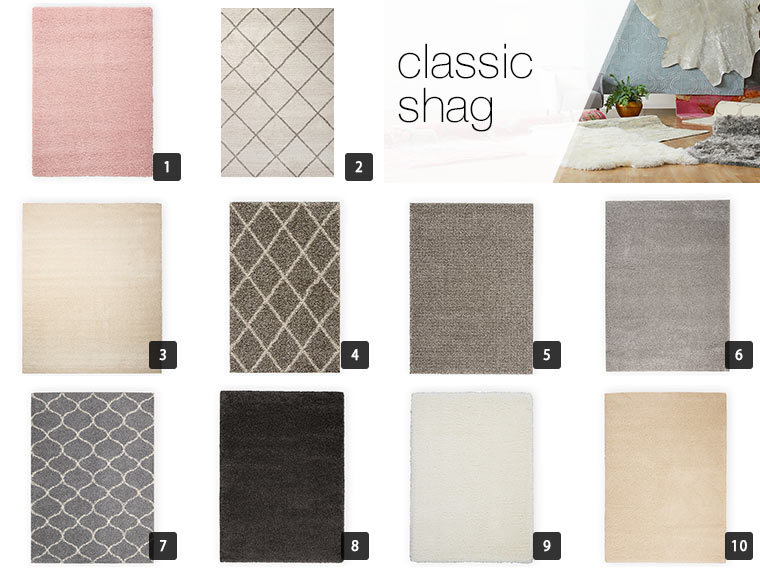 A collage of 10 classic shag rugs in different colors and prints photo
