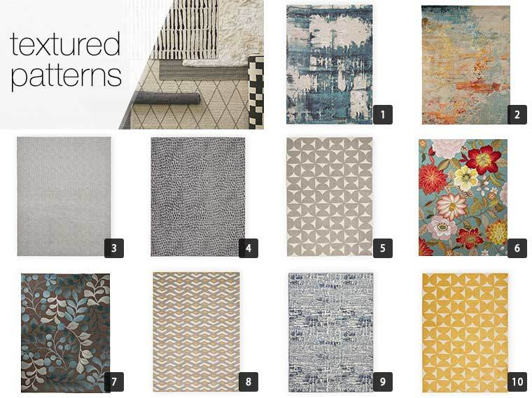 A collage of 10 textured rugs from Overstock in different colors and patterns photo