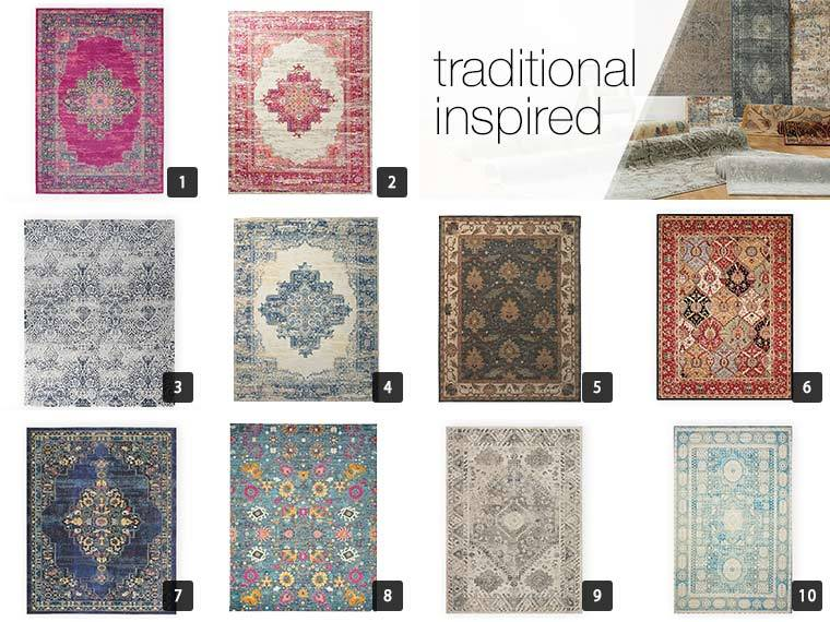 A collage of 10 different traditional rugs from Overstock photo