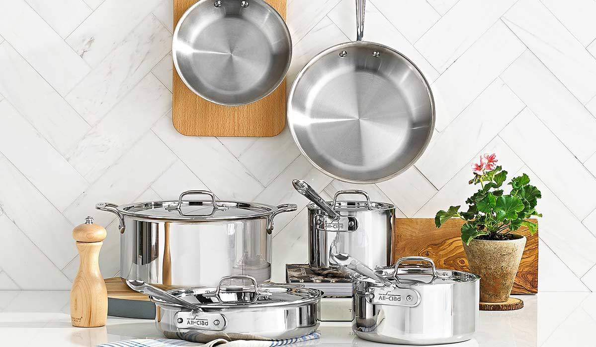 All-Clad stainless steel 10-piece cookware set.