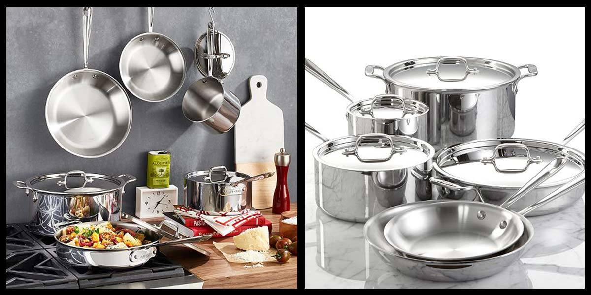 10-piece All-Clad cookware set including various sized pots and pans. photo
