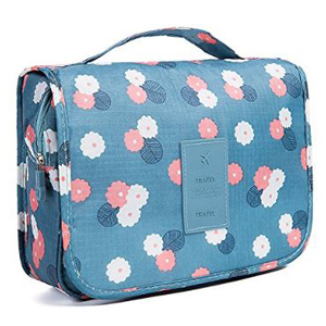 HaloVa hanging toiletry bag in teal with white and coral pink floral pattern from Amazon. photo
